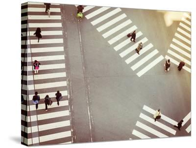 Crossing Sign Top View with People Walking Business Area-VTT Studio-Stretched Canvas Print