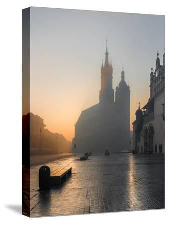 Krakow, Poland, St Mary's Church and Sukiennice (Cloth Hall) on the Main Market Square in Morning F-Tomasz Mazon-Stretched Canvas Print