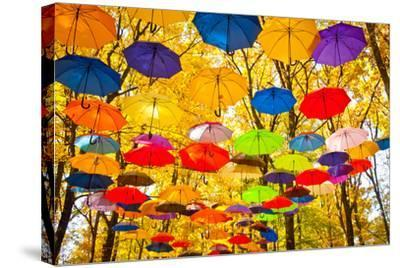 Autumn Umbrellas in the Sky-Oleksii Pyltsyn-Stretched Canvas Print