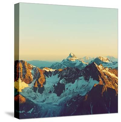 Scenic Alpine Landscape with and Mountain Ranges. Natural Mountain Background. Vintage Stylization-Evgeny Bakharev-Stretched Canvas Print