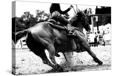 High Contrast, Black and White Closeup of a Rodeo Barrel Racer Making a Turn at One of the Barrels-Lincoln Rogers-Stretched Canvas Print