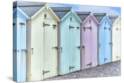 Pastel Colored Beach Cabins-Cora Niele-Stretched Canvas Print