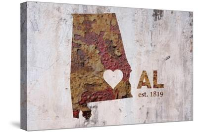 AL Rusty Cementwall Heart-Red Atlas Designs-Stretched Canvas Print