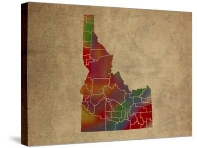 ID Colorful Counties-Red Atlas Designs-Stretched Canvas Print