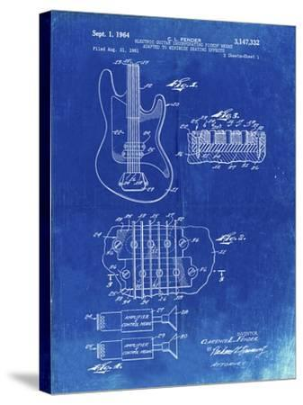 PP49 Faded Blueprint-Borders Cole-Stretched Canvas Print