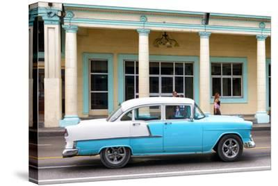 Cuba Fuerte Collection - Blue Vintage Car-Philippe Hugonnard-Stretched Canvas Print