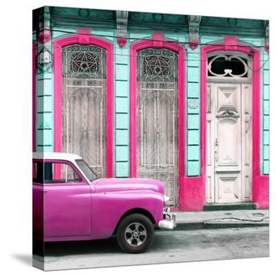 Cuba Fuerte Collection SQ - Pink Vintage Car in Havana II-Philippe Hugonnard-Stretched Canvas Print