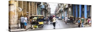 Cuba Fuerte Collection Panoramic - Street Scene in Havana-Philippe Hugonnard-Stretched Canvas Print
