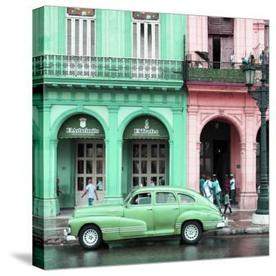 Cuba Fuerte Collection SQ - Colorful Architecture and Green Classic Car-Philippe Hugonnard-Stretched Canvas Print
