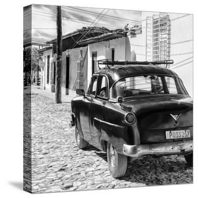 Cuba Fuerte Collection SQ BW - Old Car in Trinidad II-Philippe Hugonnard-Stretched Canvas Print