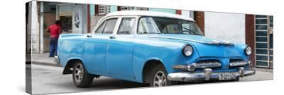 Cuba Fuerte Collection Panoramic - Classic Blue Car-Philippe Hugonnard-Stretched Canvas Print