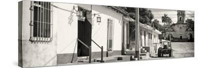 Cuba Fuerte Collection Panoramic BW - Quiet Street in Trinidad-Philippe Hugonnard-Stretched Canvas Print