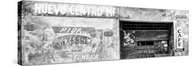 Cuba Fuerte Collection Panoramic BW - Cuban Street Advertising-Philippe Hugonnard-Stretched Canvas Print