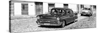 Cuba Fuerte Collection Panoramic BW - Cuban Taxis-Philippe Hugonnard-Stretched Canvas Print