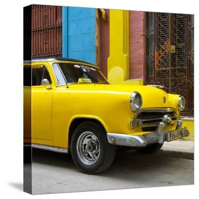 Cuba Fuerte Collection SQ - Close-up of Yellow Taxi of Havana IV-Philippe Hugonnard-Stretched Canvas Print