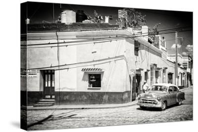 Cuba Fuerte Collection B&W - American Car in Trinidad-Philippe Hugonnard-Stretched Canvas Print