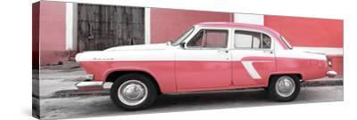 Cuba Fuerte Collection Panoramic - American Classic Car White and Pink-Philippe Hugonnard-Stretched Canvas Print