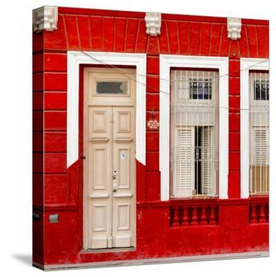 Cuba Fuerte Collection SQ - 355 Street Red Facade-Philippe Hugonnard-Stretched Canvas Print