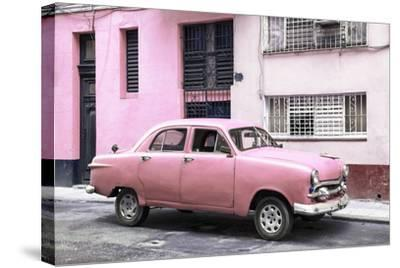 Cuba Fuerte Collection - Old Pink Car in the Streets of Havana-Philippe Hugonnard-Stretched Canvas Print
