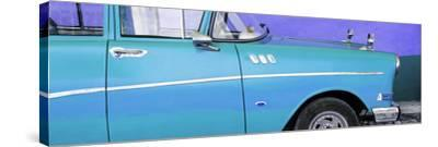Cuba Fuerte Collection Panoramic - Close-up of Retro Turquoise Car-Philippe Hugonnard-Stretched Canvas Print