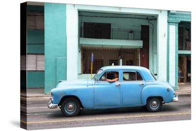 Cuba Fuerte Collection - Blue Taxi Car-Philippe Hugonnard-Stretched Canvas Print