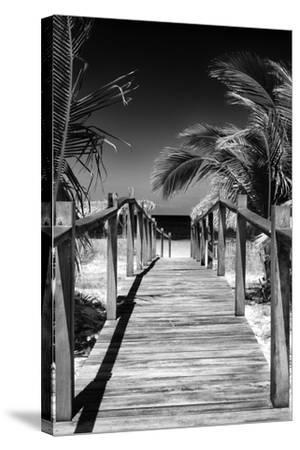 Cuba Fuerte Collection B&W - Wooden Pier on Tropical Beach VII-Philippe Hugonnard-Stretched Canvas Print