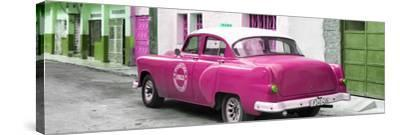 Cuba Fuerte Collection Panoramic - Pink Taxi Pontiac 1953-Philippe Hugonnard-Stretched Canvas Print