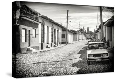 Cuba Fuerte Collection B&W - Lada Taxi in Trinidad-Philippe Hugonnard-Stretched Canvas Print