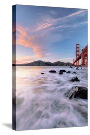 Golden Moment at Marshall Beach Golden Gate Bridge San Francisco-Vincent James-Stretched Canvas Print