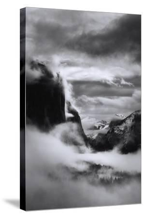 Mystical Magical Surreal Yosemite Valley in Winter Clouds Black White-Vincent James-Stretched Canvas Print