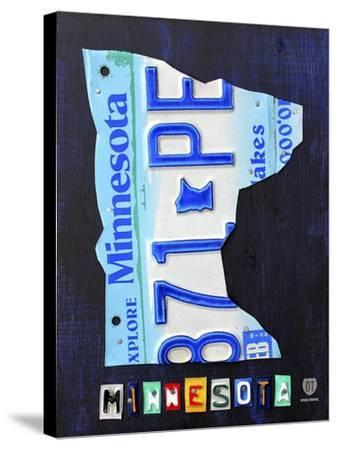 Minnesota License Plate Map-Design Turnpike-Stretched Canvas Print