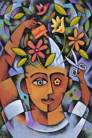 Garden Girl-Jim Dryden-Stretched Canvas Print