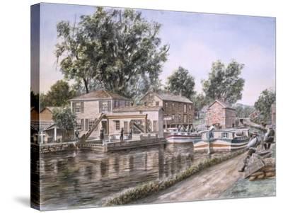 Weigh Locks On Penn Canal-Stanton Manolakas-Stretched Canvas Print