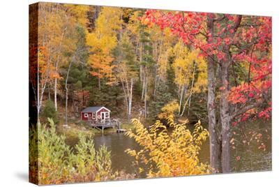 Boathouse In Autumn, Marquette, Michigan '12-Monte Nagler-Stretched Canvas Print