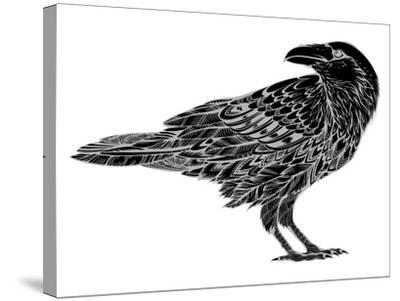 Stylized Crows. Decorative Bird. Line Art. Rook. Black and White Drawing by Hand. Doodle. Zentangle-In Art-Stretched Canvas Print