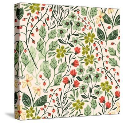 Floral Pattern with Colorful Summer Plants and Flowers-Anna Paff-Stretched Canvas Print