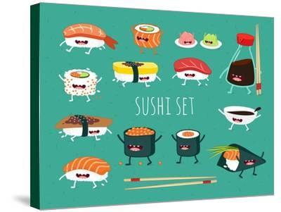 Sushi Set. Soy Sauce and Sushi Roll. Japanese Food. Vector Cartoon. Friends Forever. Comic Characte- Serbinka-Stretched Canvas Print