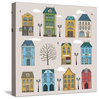 Set of Old European Houses Isolated on Vintage Background. Hand Drawn Sketch in Doodle Style. Vecto- Piranjya-Stretched Canvas Print
