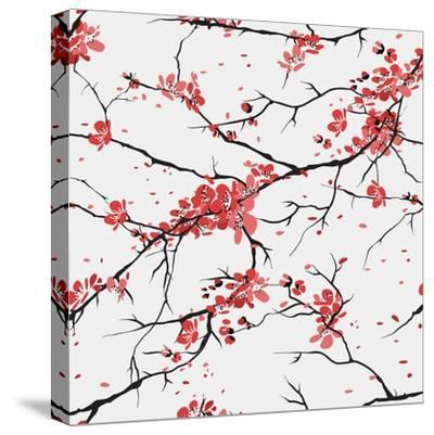 Cherry or Sakura Seamless Pattern Background- SofiaV-Stretched Canvas Print