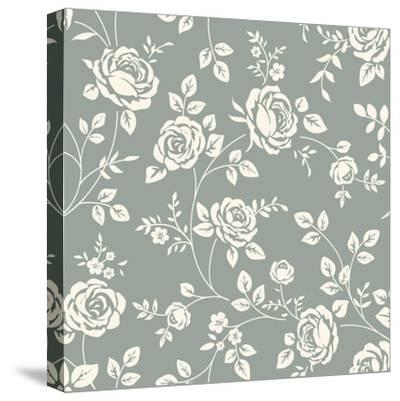 Vector Seamless Pattern with Flowers. Vintage Background with Blooming Roses. Floral Wallpaper. Whi- Gizele-Stretched Canvas Print