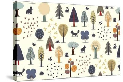 The Vector Illustrated Seamless Pattern of Flat Forest Elements - Various Trees, Wild Animals and S- Airibis-Stretched Canvas Print