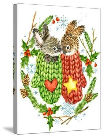 Cute Rabbit. Forest Animal. Christmas Card. Watercolor Winter Holidays Wreath Frame.-Faenkova Elena-Stretched Canvas Print
