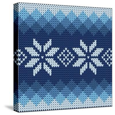 Detailed Knitted Blue Jacquard Pattern with White Flowers- Anna zabella-Stretched Canvas Print