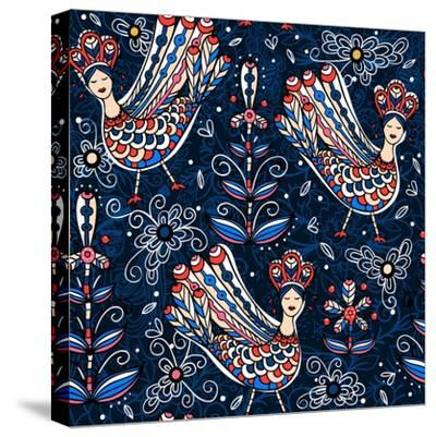 Vector Seamless Pattern with Folk Birds and Flowers-Anna Paff-Stretched Canvas Print