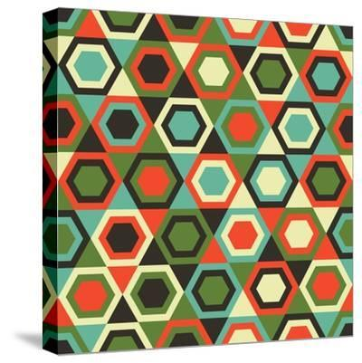 Seamless Retro Geometric Pattern-Tracie Andrews-Stretched Canvas Print