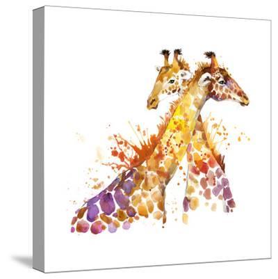 Giraffe Watercolor Illustration with Splash Textured Background.-Faenkova Elena-Stretched Canvas Print