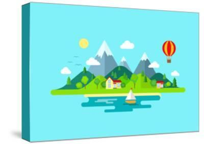 Travel Mountains Island Landscape and Sailing Color Flat Vector Icon Nature Weather Concept Templat- Sentavio-Stretched Canvas Print