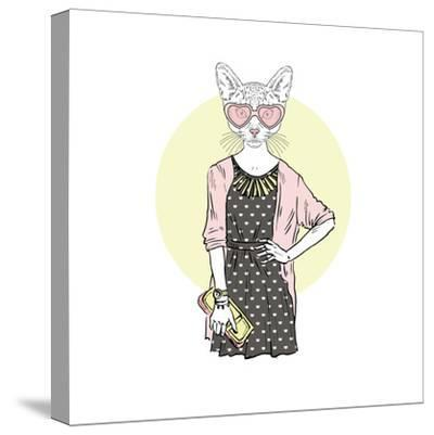 Hipster Cat Girl with Purse-Olga_Angelloz-Stretched Canvas Print