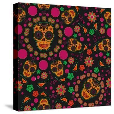 Sugar Skull Seamless Pattern- Blackspring-Stretched Canvas Print
