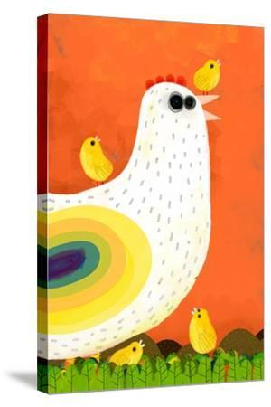 Hen Takes Care of its Chicks-Complot-Stretched Canvas Print